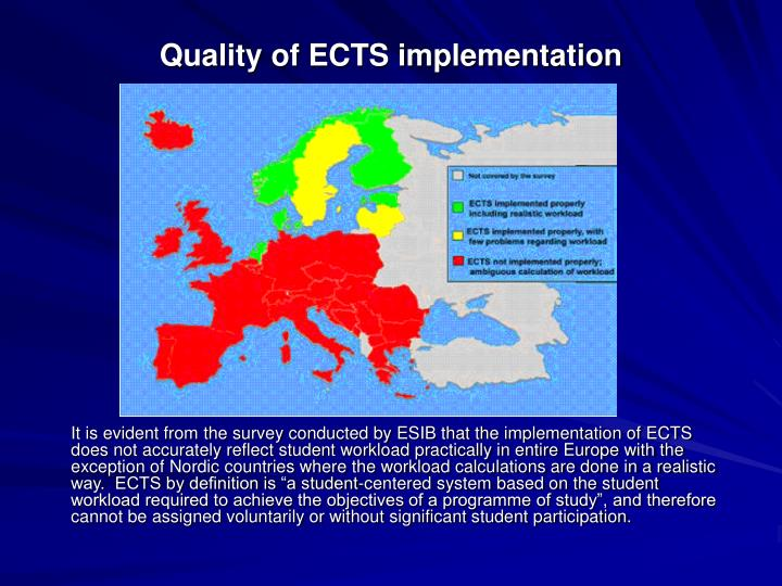 Quality of ECTS implementation
