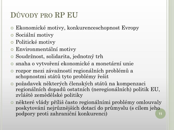 Důvody pro RP EU