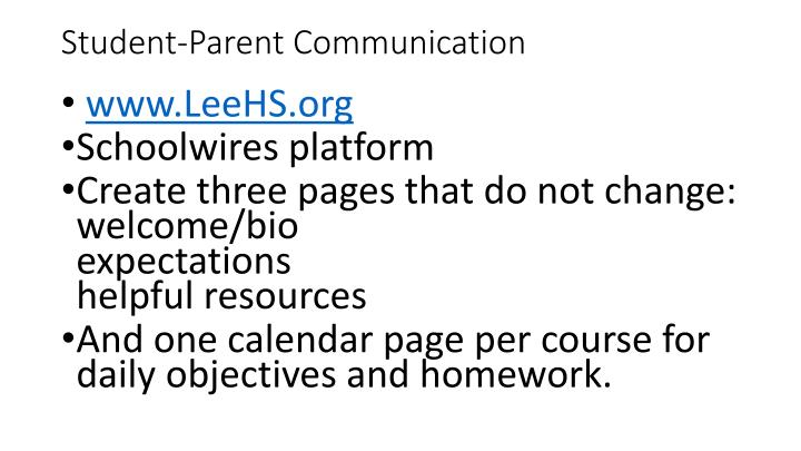 Student-Parent Communication