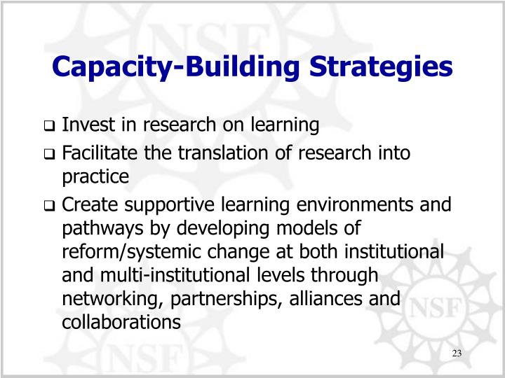 Capacity-Building Strategies