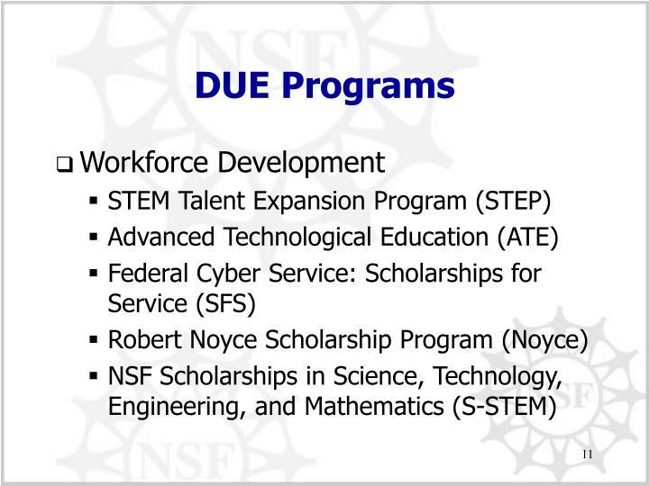 DUE Programs