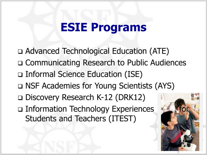 ESIE Programs