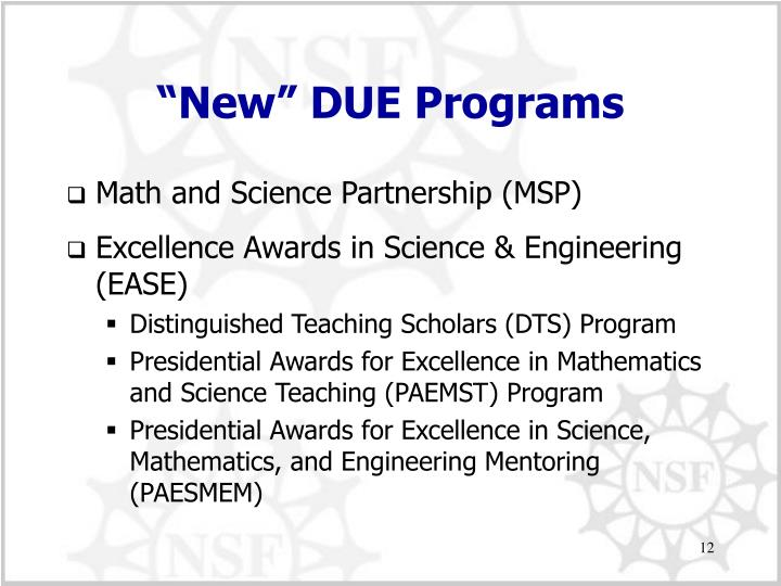 """New"" DUE Programs"
