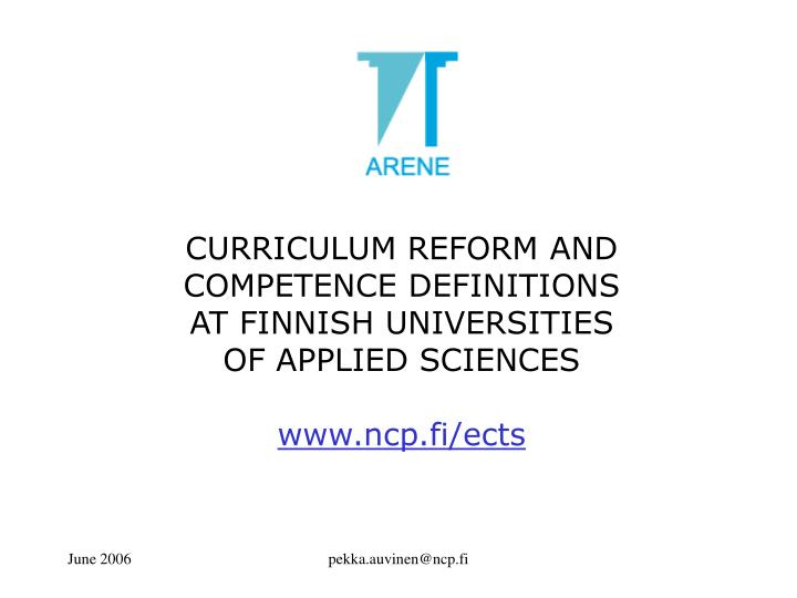 CURRICULUM REFORM AND