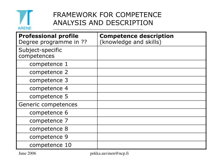 FRAMEWORK FOR COMPETENCE ANALYSIS AND DESCRIPTION