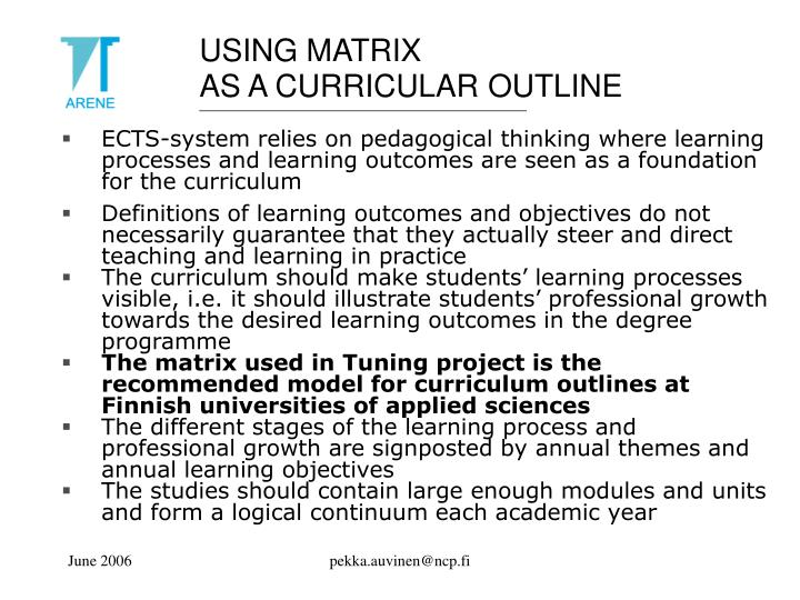 USING MATRIX
