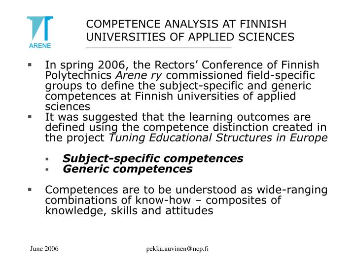 COMPETENCE ANALYSIS AT FINNISH UNIVERSITIES OF APPLIED SCIENCES