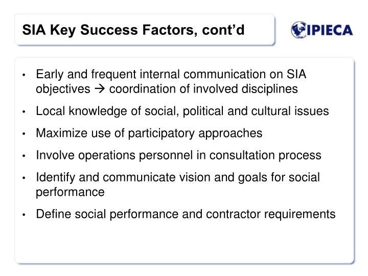 SIA Key Success Factors, cont'd