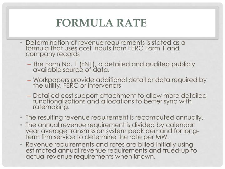 Formula Rate