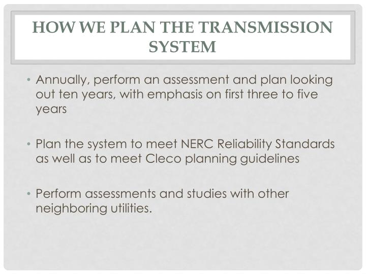 How we plan the transmission system