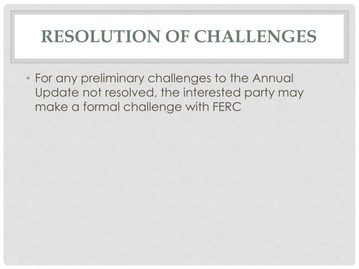 Resolution of Challenges