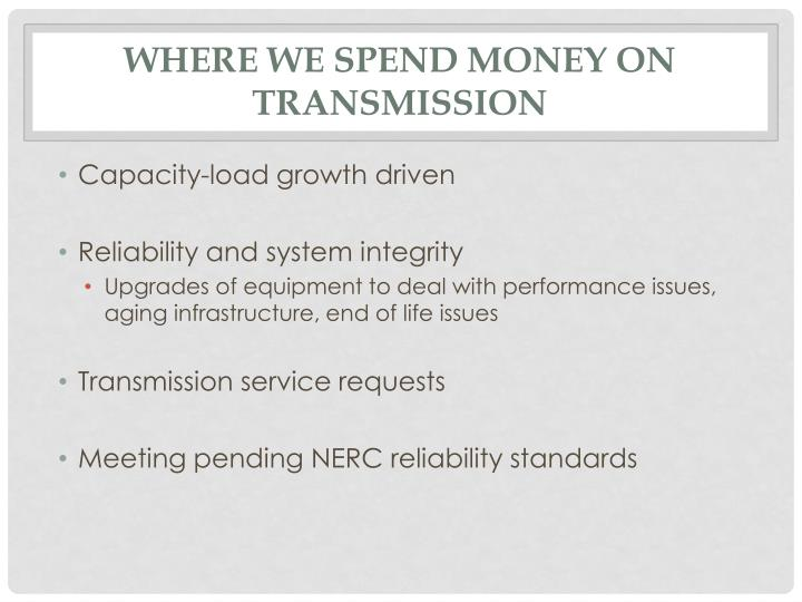 Where we spend money on transmission