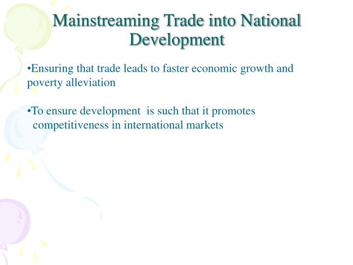 Mainstreaming trade into national development