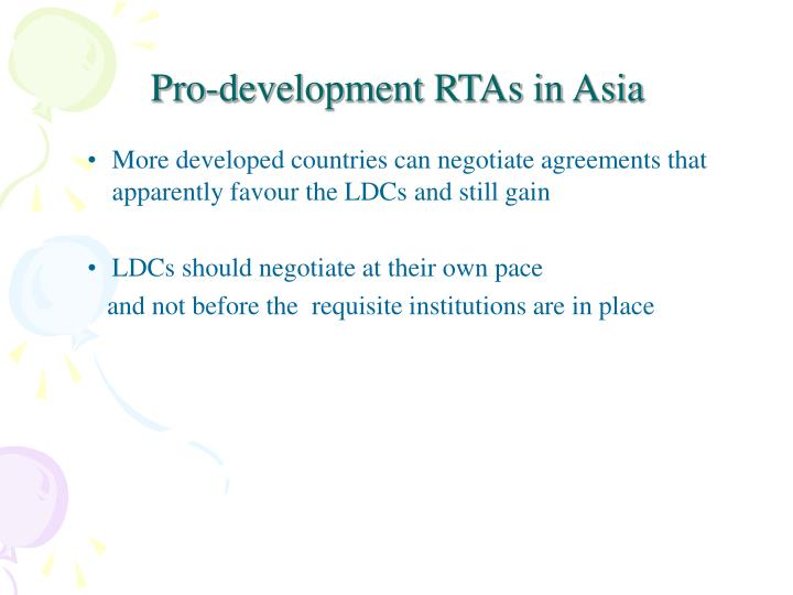 Pro-development RTAs in Asia