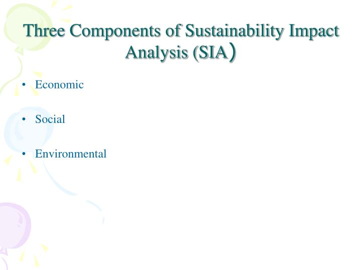 Three Components of Sustainability Impact Analysis (SIA