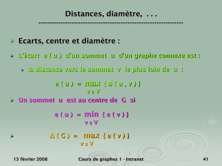 Distances, diamètre,  . . .