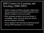 nsf centers for learning and teaching 2000 2005