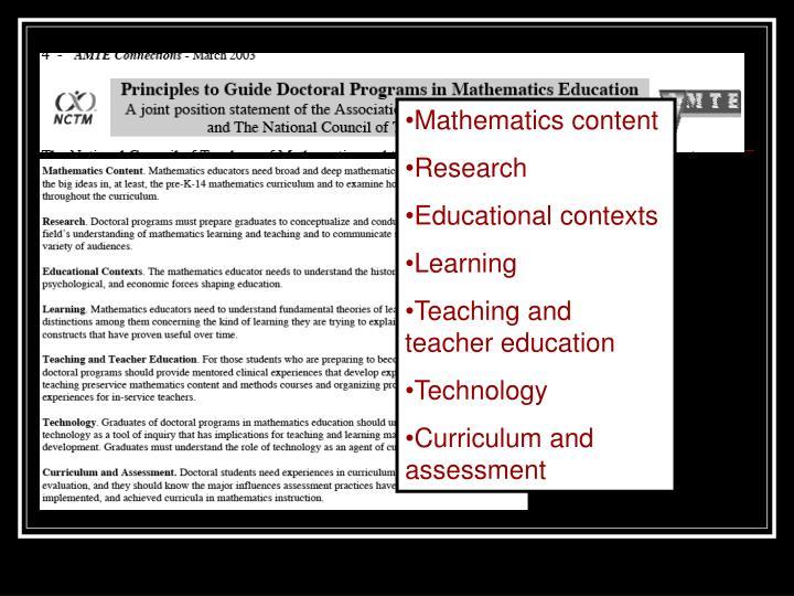 Mathematics content