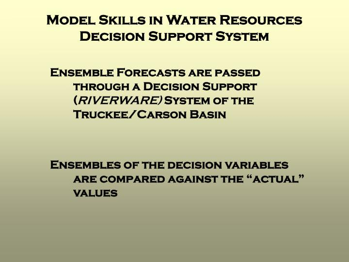 Model Skills in Water Resources Decision Support System