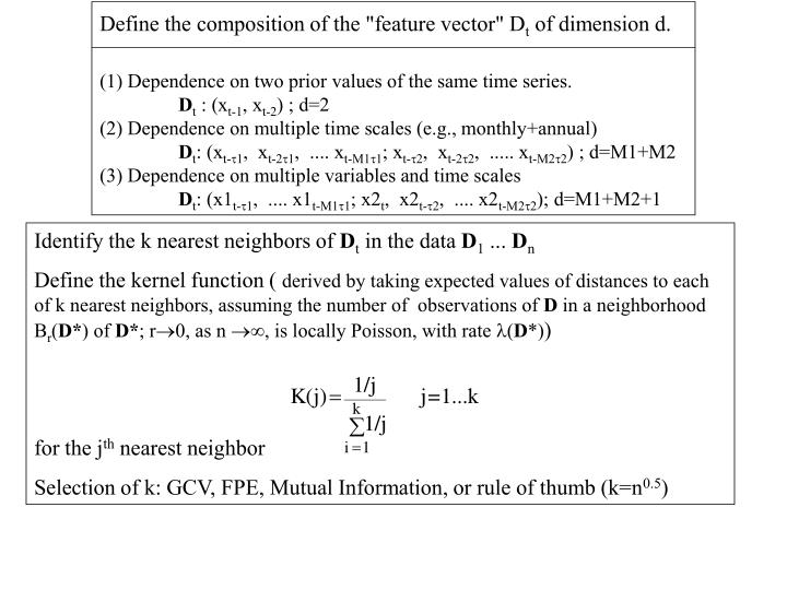 "Define the composition of the ""feature vector"" D"