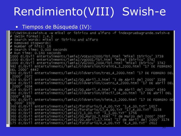 Rendimiento(VIII)Swish-e