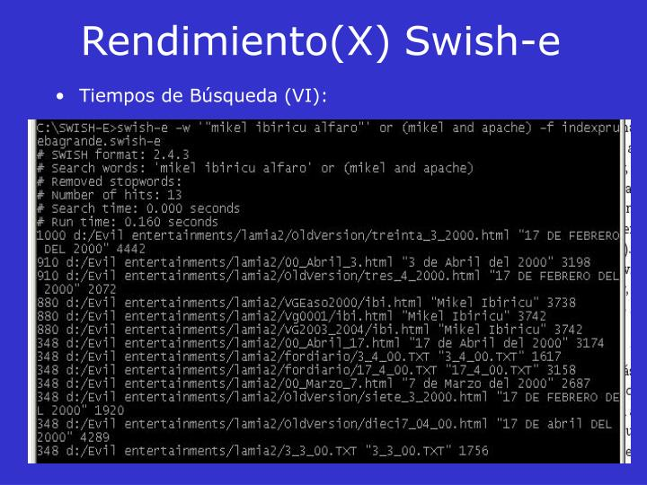Rendimiento(X)Swish-e