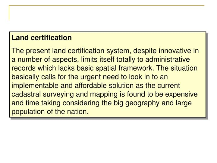 Land certification