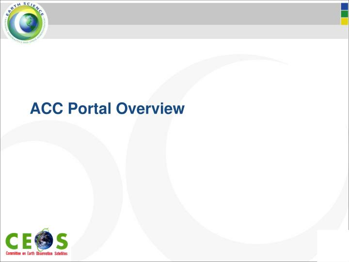 ACC Portal Overview