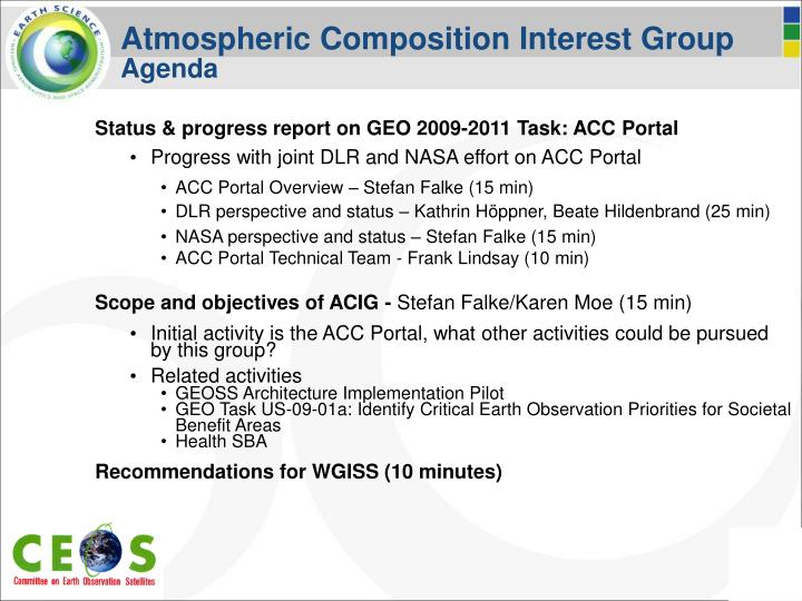 Atmospheric Composition Interest Group