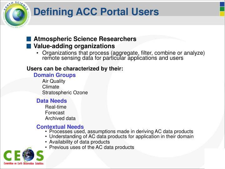 Defining ACC Portal Users