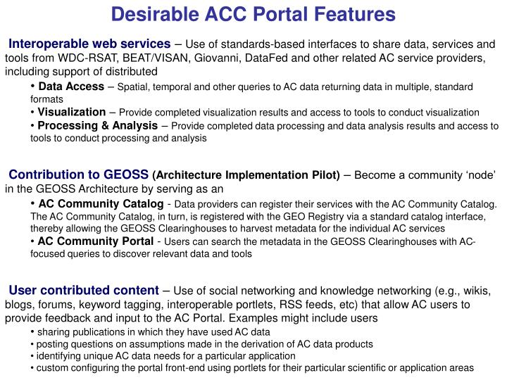 Desirable ACC Portal Features