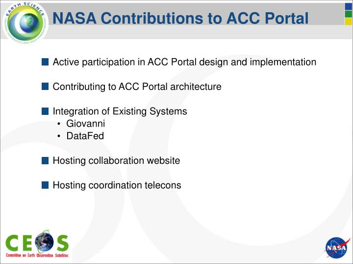 NASA Contributions to ACC Portal