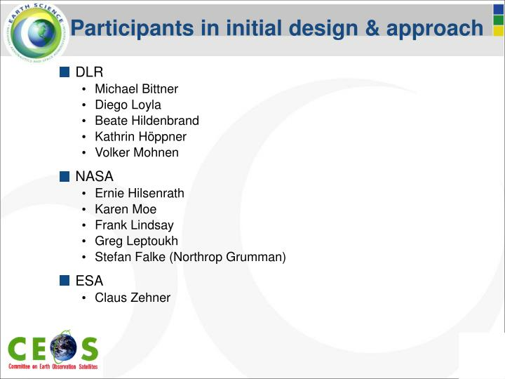 Participants in initial design & approach