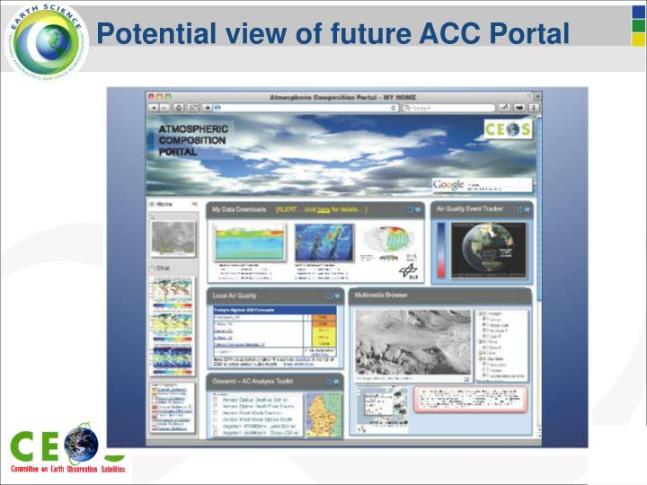 Potential view of future ACC Portal