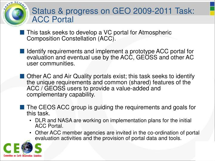 Status & progress on GEO 2009-2011 Task: ACC Portal