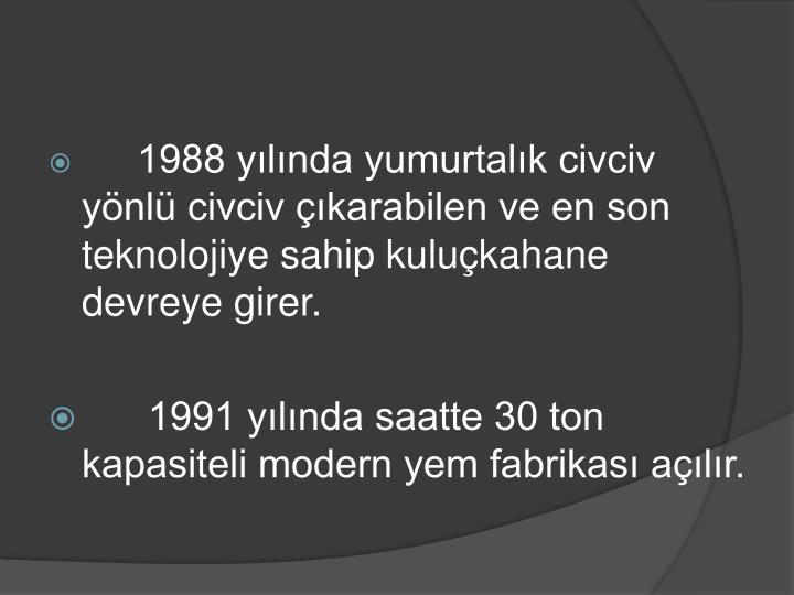 1988 ylnda yumurtalk civciv ynl civciv karabilen ve en son teknolojiye sahip kulukahane devreye girer.