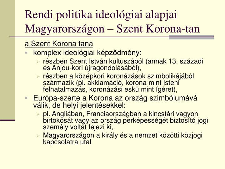 Rendi politika ideológiai alapjai Magyarországon – Szent Korona-tan