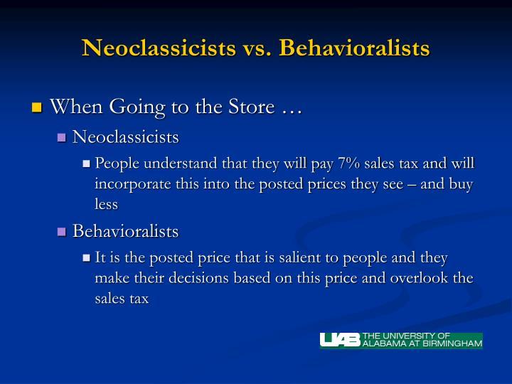 Neoclassicists vs. Behavioralists