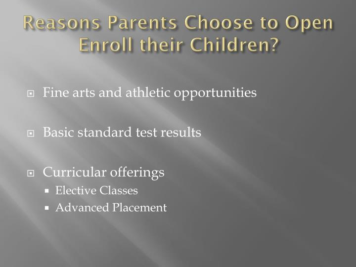 Reasons Parents Choose to Open Enroll their Children?