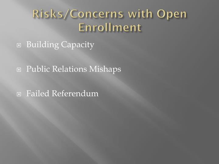 Risks/Concerns with Open Enrollment