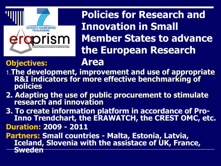 Policies for Research and Innovation in Small Member States to advance the European Research