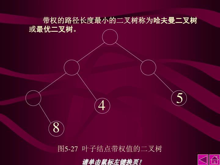 带权的路径长度最小的二叉树称为