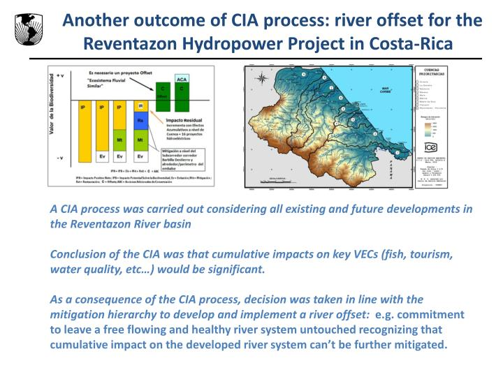 Another outcome of CIA process: river offset for the Reventazon Hydropower Project in Costa-Rica