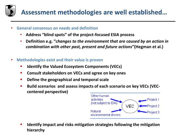 Assessment methodologies are well established…