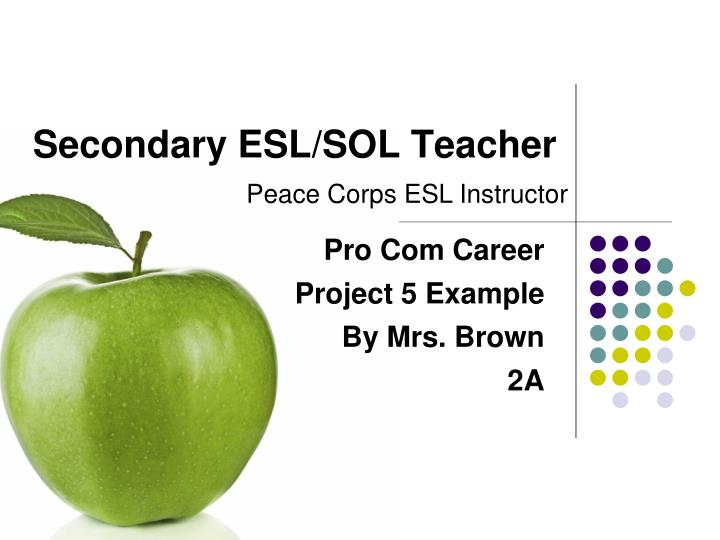 Secondary esl sol teacher