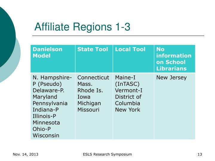 Affiliate Regions 1-3