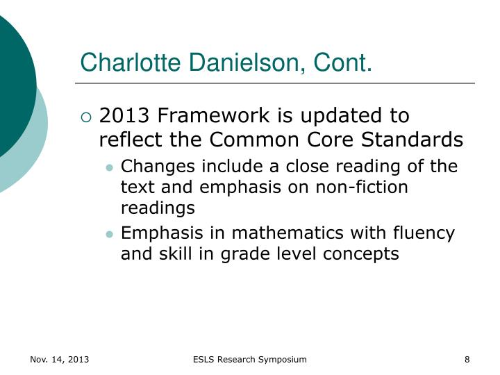 Charlotte Danielson, Cont.