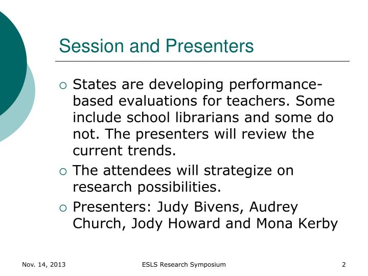 Session and Presenters