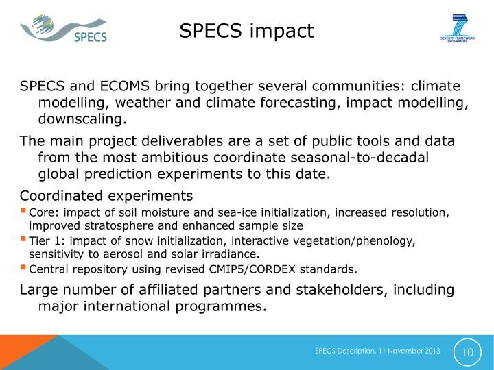 SPECS impact