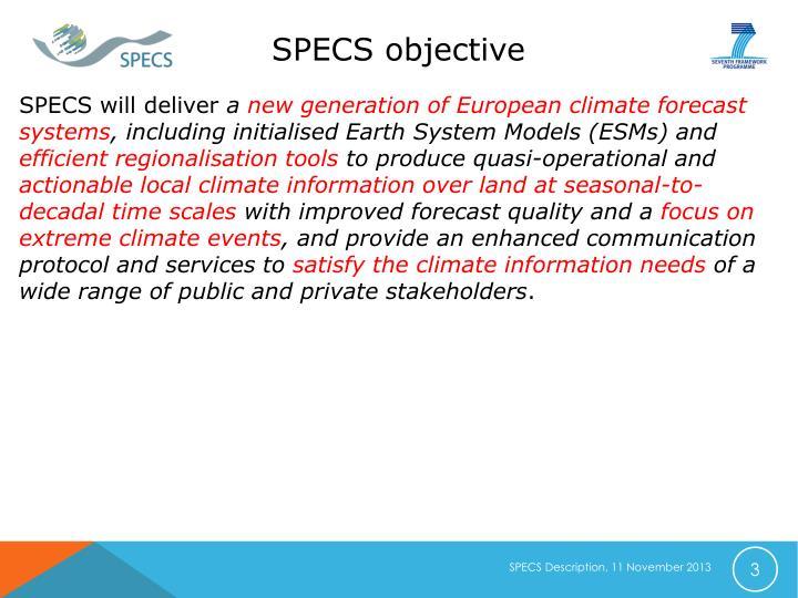 SPECS objective